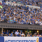 "A ""Chuckstrong"" banner is displayed during the first half of an NFL football game between the Indianapolis Colts and Cleveland Browns Sunday, Oct. 21, 2012, in Indianapolis. The banner is fo …"