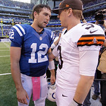 Indianapolis Colts' Andrew Luck (12) is congratulated by Cleveland Browns' Brandon Weeden after the Colts defeated the Browns, 17-13, in an NFL football game Sunday, Oct. 21, 2012, in Indian …