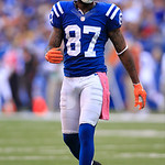Indianapolis Colts' Reggie Wayne walks to the line of scrimmage during the first half of an NFL football game against the Cleveland Browns Sunday, Oct. 21, 2012, in Indianapolis. (AP Photo/A …