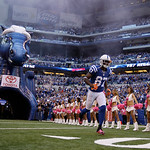 Indianapolis Colts' Reggie Wayne is introduced before an NFL football game against the Cleveland Browns Sunday, Oct. 21, 2012, in Indianapolis. (AP Photo/Michael Conroy)