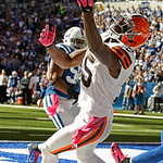 Cleveland Browns' Greg Little makes a 14-yard touchdown reception against Indianapolis Colts' Jerrell Freeman during the first half of an NFL football game Sunday, Oct. 21, 2012, in Indianap …