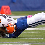 Cleveland Browns' Sheldon Brown recovers a fumble by Indianapolis Colts' Andrew Luck during the second half of an NFL football game Sunday, Oct. 21, 2012, in Indianapolis. (AP Photo/Michael  …