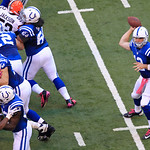Indianapolis Colts' Andrew Luck (12) passes during the second half of an NFL football game against the Cleveland Browns Sunday, Oct. 21, 2012, in Indianapolis. (AP Photo/AJ Mast)