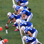 Indianapolis Colts' Andrew Luck (12) calls a play during the second half of an NFL football game against the Cleveland Browns Sunday, Oct. 21, 2012, in Indianapolis. (AP Photo/AJ Mast)