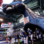 The Indianapolis Colts are introduced before an NFL football game against the Cleveland Browns Sunday, Oct. 21, 2012, in Indianapolis. (AP Photo/AJ Mast)