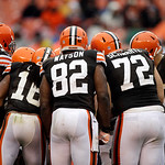 The Cleveland Browns offense huddles before a play in the third quarter of an NFL football game against the San Diego Chargers Sunday, Oct. 28, 2012, in Cleveland. (AP Photo/Mark Duncan)