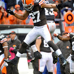Cleveland Browns safety Eric Hagg (27) and T.J. Ward celebrate after stopping the San Diego Chargers on fourth down in the final seconds of a 7-6 win by the Browns in an NFL football game Su …