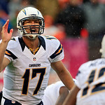 San Diego Chargers quarterback Philip Rivers calls a play at the line in the first quarer of an NFL football game against the Cleveland Browns Sunday, Oct. 28, 2012, in Cleveland. (AP Photo/ &#8230;