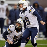 San Diego Chargers place kicker Nick Novak (9) and holder Mike Scifres watch Novak&#039;s 31-yard field goal splits the uprights in the third quarter of an NFL football game against the Cleveland &#8230;