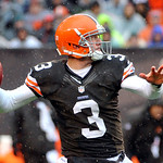 Cleveland Browns quarterback Brandon Weeden passes against the San Diego Chargers in the first quarter of an NFL football game Sunday, Oct. 28, 2012, in Cleveland. (AP Photo/Phil Long)