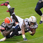 San Diego Chargers running back Ryan Mathews (24) is tackled by Cleveland Browns linebacker D'Qwell Jackson (52) in the second quarter of an NFL football game Sunday, Oct. 28, 2012, in Cleve …