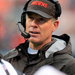 Cleveland Browns head coach Pat Shurmur talks to his coaches in the first quarter of an NFL football game against the San Diego Chargers Sunday, Oct. 28, 2012, in Cleveland. (AP Photo/Tony D &#8230;