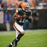 Cleveland Browns&#039; Josh Cribbs returns a kickoff against the San Diego Chargers in the third quarter of an NFL football game Sunday, Oct. 28, 2012, in Cleveland. (AP Photo/Mark Duncan)