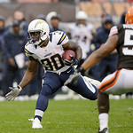 San Diego Chargers running back Ronnie Brown (30) runs after a pass reception against Cleveland Browns linebacker Craig Robertson (53) in the third quarter of an NFL football game Sunday, Oc &#8230;