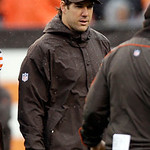 Cleveland Browns linebacker Scott Fujita walks out for the coin toss before an NFL football game against the San Diego Chargers Sunday, Oct. 28, 2012, in Cleveland. Fujita was placed on inju …