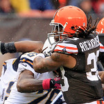 Cleveland Browns back Trent Richardson breaks a tackle by San Diego Chargers safety Atari Bigby (26) on a 26-yard touchdown run in the first quarter of an NFL football game Sunday, Oct. 28, …