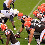 Cleveland Browns center Alex Mack, center, waits to snap the ball to quarterback Brandon Weeden (3) in the second quarter of an NFL football game against the San Diego Chargers, left, Sunday …