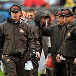 Cleveland Browns head coach Pat Shurmur, left, watches on the sideline in an NFL football game against the San Diego Chargers Sunday, Oct. 28, 2012, in Cleveland. (AP Photo/Tony Dejak)