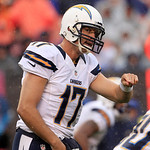 San Diego Chargers quarterback Philip Rivers (17) gives a signal to a teammate in an NFL football game against the Cleveland Browns Sunday, Oct. 28, 2012, in Cleveland. (AP Photo/Tony Dejak)