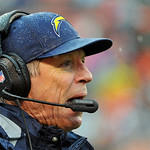 San Diego Chargers head coach Norv Turner reacts to a play in the first half of an NFL football game against the Cleveland Browns Sunday, Oct. 28, 2012, in Cleveland. (AP Photo/Phil Long)