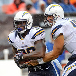 San Diego Chargers running back Ronnie Brown, left, takes a handoff from quarterback Philip Rivers in the first quarter of an NFL football game against the Cleveland Browns Sunday, Oct. 28, …