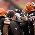 The Cleveland Browns special teams huddle before a kickoff in the third quarter of an NFL football game against the San Diego Chargers Sunday, Oct. 28, 2012, in Cleveland. (AP Photo/Mark Dun …