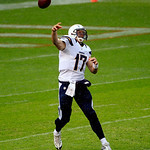 San Diego Chargers quarterback Philip Rivers (17) throws against the Cleveland Browns in an NFL football game Sunday, Oct. 28, 2012, in Cleveland. (AP Photo/Tony Dejak)