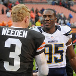 San Diego Chargers tight end Antonio Gates (85) talks with Cleveland Browns quarterback Brandon Weeden (3) after the Browns' 7-6 win over the Chargers in an NFL football game Sunday, Oct. 28 …