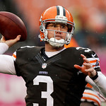 Cleveland Browns quarterback Brandon Weeden passes against the San Diego Chargers in the third quarter of an NFL football game on Sunday, Oct. 28, 2012, in Cleveland. (AP Photo/Mark Duncan)