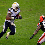 San Diego Chargers running back Ryan Mathews (24) runs the ball against the Cleveland Browns in an NFL football game Sunday, Oct. 28, 2012, in Cleveland. (AP Photo/Tony Dejak)