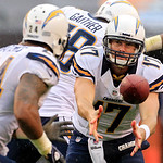 San Diego Chargers quarterback Philip Rivers (17) pitches the ball to running back Ryan Mathews in the first quarter of an NFL football game Sunday, Oct. 28, 2012, in Cleveland. (AP Photo/To &#8230;