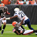Cleveland Browns wide receiver Josh Cribbs (16) runs against the San Diego Chargers in an NFL football game Sunday, Oct. 28, 2012, in Cleveland. (AP Photo/Tony Dejak)