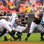 Cleveland Browns running back Trent Richardson (33) runs the ball in an NFL football game against the San Diego Chargers Sunday, Oct. 28, 2012, in Cleveland. (AP Photo/Tony Dejak)