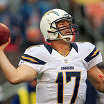San Diego Chargers quarterback Philip Rivers passes against the Cleveland Browns in the first quarter of an NFL football game Sunday, Oct. 28, 2012, in Cleveland. (AP Photo/Tony Dejak)