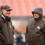 Cleveland Browns head coach Pat Shurmur laughs with offensive coordinator Brad Childress, right, before an NFL football game against the San Diego Chargers Sunday, Oct. 28, 2012, in Clevelan &#8230;