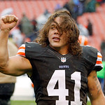 Cleveland Browns safety Raymond Ventrone celebrates after a 7-6 win over the San Diego Chargers in an NFL football game Sunday, Oct. 28, 2012, in Cleveland. (AP Photo/Tony Dejak)