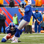 New York Giants kicker Lawrence Tynes (9) kicks a PAT after a touchdown by Ahmad Bradshaw during the first half of an NFL football game against the Cleveland Browns Sunday, Oct. 7, 2012, in …