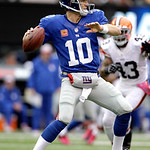 New York Giants quarterback Eli Manning looks to pass against the Cleveland Browns during the second half of an NFL football game Sunday, Oct. 7, 2012, in East Rutherford, N.J. (AP Photo/Kat …