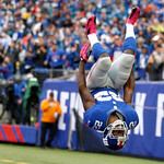 New York Giants running back David Wilson reacts after scoring a touchdown against the Cleveland Browns during the second half of an NFL football game Sunday, Oct. 7, 2012, in East Rutherfor …