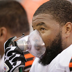Cleveland Browns guard Jason Pinkston uses oxygen on the bench during the first half of an NFL football game Sunday, Oct. 7, 2012, in East Rutherford, N.J. (AP Photo/Peter Morgan)