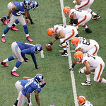The Cleveland Browns line up against  the New York Giants during the second half of an NFL football game Sunday, Oct. 7, 2012, in East Rutherford, N.J. (AP Photo/Peter Morgan)
