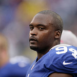New York Giants outside linebacker Mathias Kiwanuka is shown with his helmet off during the second half of an NFL football game Sunday, Oct. 7, 2012, in East Rutherford, N.J. The Giants won …