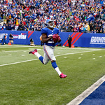 New York Giants running back David Wilson scores a touchdown run against the Cleveland Browns during the second half of an NFL football game Sunday, Oct. 7, 2012, in East Rutherford, N.J. Th …