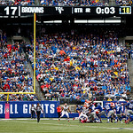 New York Giants kicker Lawrence Tynes (9) kicks a field goal against the Cleveland Browns during the first half of an NFL football game Sunday, Oct. 7, 2012, in East Rutherford, N.J. (AP Pho …