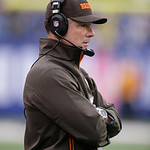 Cleveland Browns head coach Pat Shurmur watches from the sideline during the first half of an NFL football game Sunday, Oct. 7, 2012, in East Rutherford, N.J. (AP Photo/Peter Morgan)
