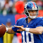 New York Giants quarterback Eli Manning looks to pass against the Cleveland Browns during the second half of an NFL football game Sunday, Oct. 7, 2012, in East Rutherford, N.J. (AP Photo/Jul …