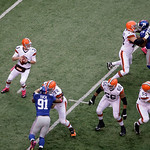 Cleveland Browns quarterback Brandon Weeden (3) prepares to pass during the first half of an NFL football game against the New York Giants, Sunday, Oct. 7, 2012, in East Rutherford, N.J. (AP …