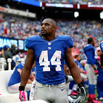 New York Giants running back Ahmad Bradshaw looks on from the bench during the second half of an NFL football game against the Cleveland Browns Sunday, Oct. 7, 2012, in East Rutherford, N.J. …