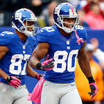 New York Giants wide receiver Victor Cruz (80) celebrates with teammate Domenik Hixon (87) after catching his third touchdown pass of the game during the second half of an NFL football game …