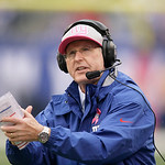 New York Giants head coach Tom Coughlin reacts during the second half of an NFL football game Sunday, Oct. 7, 2012, in East Rutherford, N.J. The Giants won the game 41-27. (AP Photo/Peter Mo …